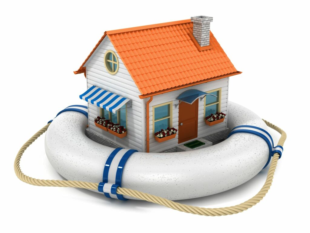 Toy house floating on a pool ring