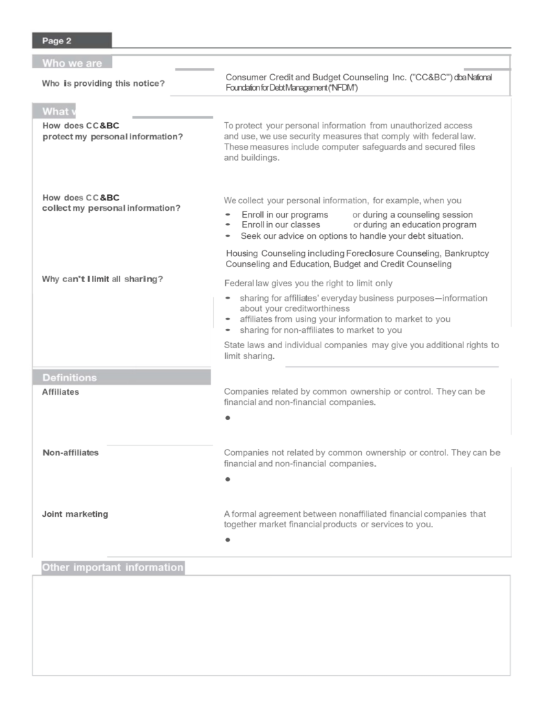 2nd page of privacy policy
